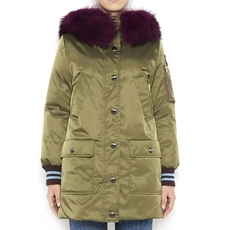 Miu Miu Fur Trimmed Down Coat With Applique