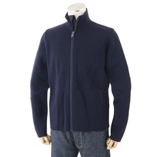 Prada Wool And Nylon Zip On Cardigan Navy