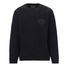 Prada Logo Patch Cotton Blend Sweatshirt Black