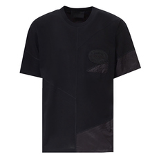 Prada Mixed Media Logo Patch T-Shirt Black