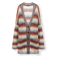 Chloe Oversized Cardigan With Graduated Stripes In A Mohair Mix