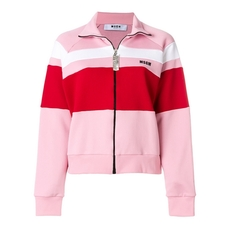 Msgm Colour Block Zipped Sweatshirt Pink