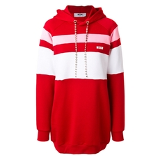 Msgm Stripe Panelled Hoodie Dress With Gemstone Embellished Drawstring Red
