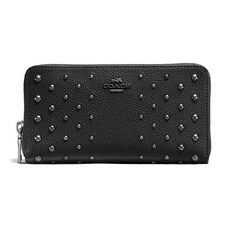 Coach  Accordion Zip Wallet In Polished Pebble Leather With Ombre Rivets Black