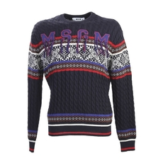 Msgm Wool Jumper With Fringed Embroidery