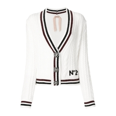N°21 Cable Knit V-Neck Cardigan White
