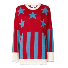 Msgm Stars And Stripes Sweater Red