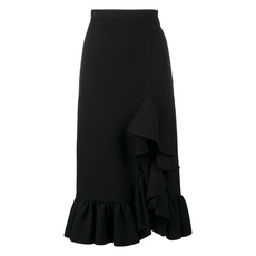 Msgm Side Ruffle Midi Skirt Black
