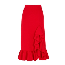 Msgm Side Ruffle Midi Skirt Red