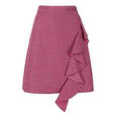 Msgm Houndstooth Pattern Ruffled Skirt Pink
