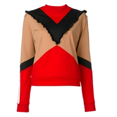 Msgm Sporty Crew-Neck Sweatshirt Red/Beige