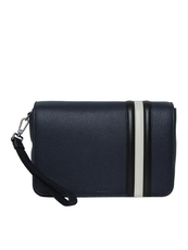 Bally Steon Leather Clutch Bag Navy