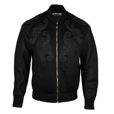 Versace Baroque Detailed Zip On Jacket Black