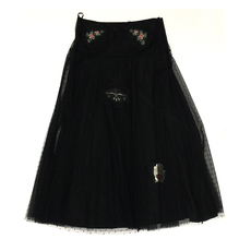 Red Valentino Embroidered Lace Long Skirt Black