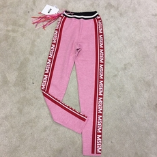 Msgm Knitted Logo Leggings Pink
