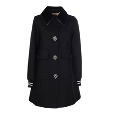 N°21 Embellished Coat Black