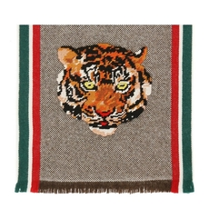 Gucci Tiger Head-Embroidered Scarf