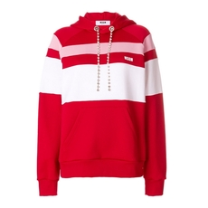 Msgm Striped Hoodie Red