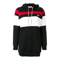 Msgm Oversized Stripe Panel Hoodie Black