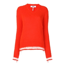 Msgm Stripe Detail Sweater Red