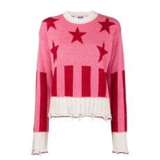 Msgm Stars And Stripes Sweater Pink