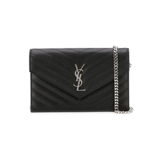 Saint Laurent Envelope In Grain De Poudre Embossed Leather Chain Wallet Black