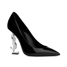 Yves Saint Laurent Opyum 110 Pump In Black Patent Leather And Silver-Toned Metal