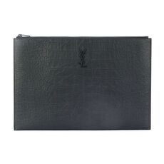 Saint Laurent Monogram Stamped Crocodile Leather Clutch Bag Black