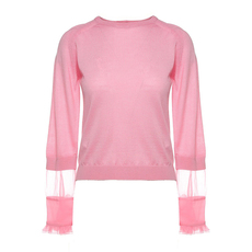 N°21 Contrast Panel Wool-Blend Sweater Pink