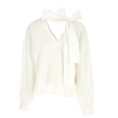 Msgm Bow Closure On Neck Deep V Top White