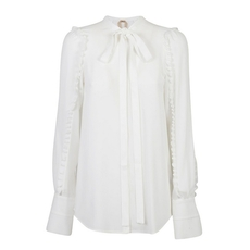 N21 Silk Blend Flared Hem Shirt White