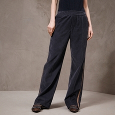 Brunello Cucinelli Cotton And Cashmere Corduroy Pyjama Trousers With Shiny Contrast Stripe