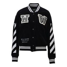 Off White Black Corduroy Diagonal Varsity Jacket