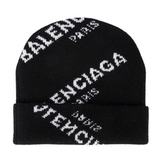 Balenciaga All Over Beanie Hat Black