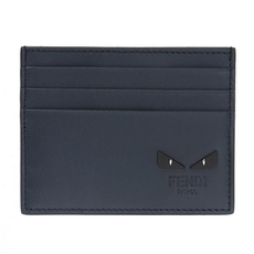Fendi Blue Leather Card Holder With Six Slots