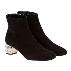 Miu Miu Suede Bootie With 45 Mm Heel Embellished With Swarovski Crystals And Pearls