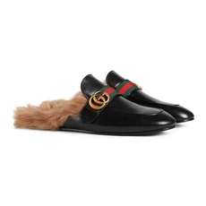Gucci Princetown Leather Men'S Slipper With Double G Black