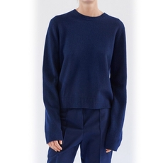 Celine Crew Neck Sweater In Navy Boiled Wool With Cotton Tapes Sweater Blue