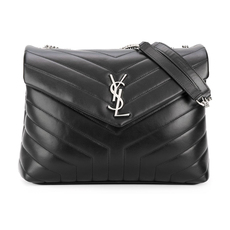 "Saint Laurent Loulou Medium in ""Y"" Matelasse Leather Shoulder Bag Black"