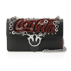 Pinko Love Bag With Cocacola And Eyelets Black