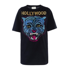 Gucci Leopard Embroidery T-Shirt Black