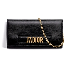 Dior J'Adior Croisière Chain Wallet In Black Crinkled Calfskin