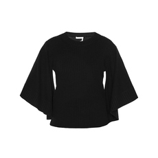 Chloe Cashmere Ribbed Top Black