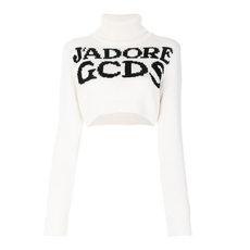 Gcds Cropped Turtleneck Logo Sweater White