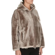 Brunello Cucinelli Reversible Teddy Bear Shearling Hooded Outerwear Jacket With Precious Detail