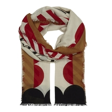 Burberry Scallop And Stripe Print Modal Wool Scarf