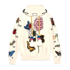 Gucci Embroidered Wool Hooded Sweatshirt