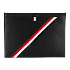 Thom Browne Diagonal Stripe Document Holder Black