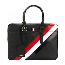 Thom Browne Striped Briefcase Black