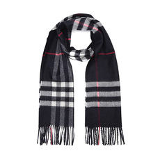 Burberry Classic Check Cashmere Scarf Navy